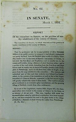 Redford Glass Company 1832 Senate Report Plattsburgh Saranac Lake Champlain