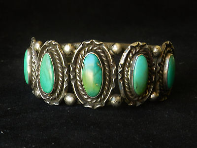 Antique NAVAJO Cuff Bracelet 1940's Sterling Silver & Turquoise