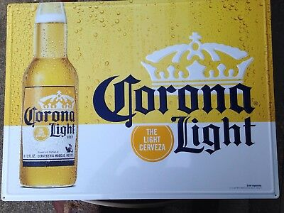 "Large Tin Metal Beer Sign Corona Light 24"" X 18"""