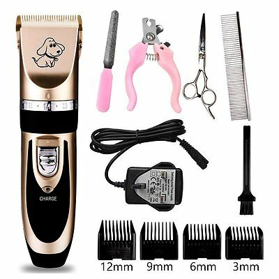 Pet Dogs Cats Cordless Rechargeable Grooming Clippers Trimming Hair Shave Kit