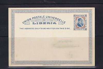 Liberia 1885 3 Cent H.R.W Johnson Universal Postal Union Postcard - Unaddressed