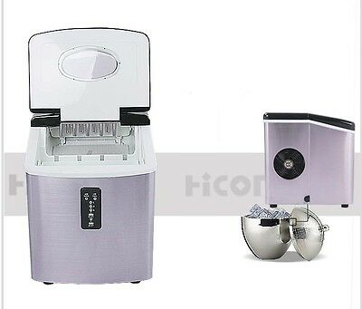 15KG/Day New Small Commercial Stainless Steel Coffee Ice Maker Home Portable &