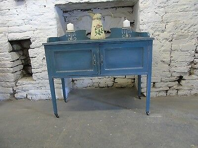 Distressed Hand Painted Washstand in Blue/Grey