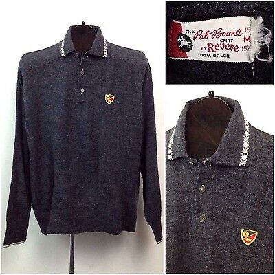 RARE Vintage 1960s Pat Boone Charcoal Gray 3 Button Polo Sweater Shirt M Revere