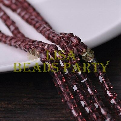 25pcs 6mm Cube Square Faceted Crystal Glass Loose Spacer Beads Fuchsia
