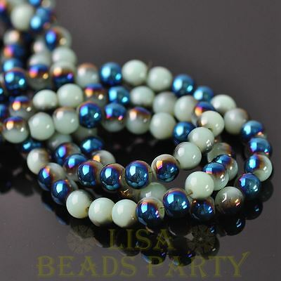 100pcs 6mm Round Glass Loose Spacer Beads Porcelain Light Green Half Blue
