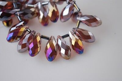 20pcs 16X8mm Teardrop Faceted Crystal Glass Pendants Loose Beads Reddish Violet