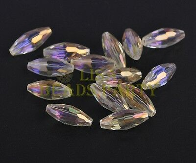 10pcs 19X8mm Oval Faceted Crystal Glass Loose Finding Beads Citrine Yellow