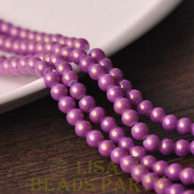 New 50pcs 6mm Round Gold Dust Glass Charms Loose Spacer Beads Fuchsia