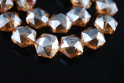 10pcs Hexagon Faceted Crystal Glass Charms Loose Spacer Beads Amber Gold