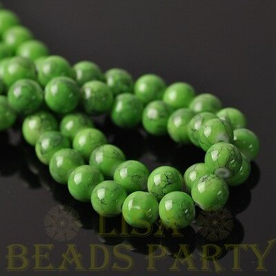 New 25pcs 8mm Round Charms Loose Spacer Glass Beads Jewelry Making Green