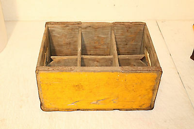 Vintage Unusual Sized Drink Soda Crate Wooden Carrier Caddy Box 6 Slots