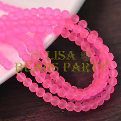 New 100pcs 4mm Jelly Like Round Loose Spacer Glass Beads Findings   Deep Pink