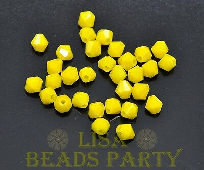 New 100pcs 4mm Bicone Faceted Crystal Glass Loose Spacer Beads Porcelain Yellow