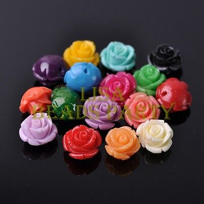 New 10pcs 12mm Rose Flower Synthetic Coral Charms Loose Spacer Beads Mixed