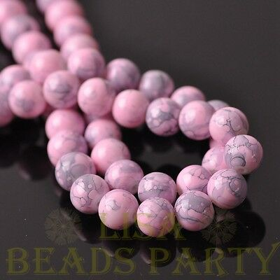 New 25pcs 8mm Round Charms Loose Spacer Glass Beads Jewelry Making Light Pink