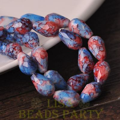New 8pcs 15X10mm Teardrop Faceted Glass Loose Spacer Colorful Beads Red&Blue