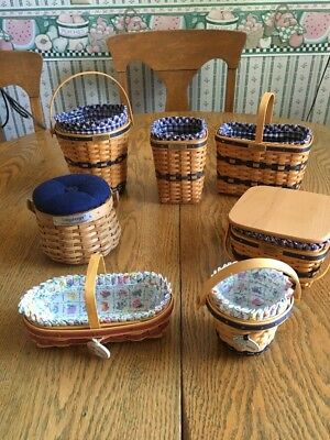 Longaberger lot of 7 J.W. & May Series Collection Miniature Baskets  Lot 1