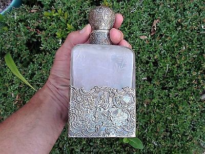 Victorian etched floral glass sterling Decanter