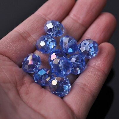 20pcs 14x10mm Rondelle Faceted Crystal Glass Loose Beads Light Blue AB