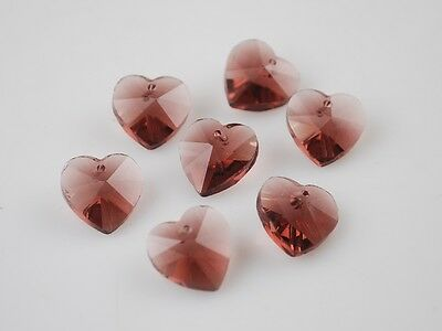 10pcs 10mm Heart Faceted Crystal Glass Pendant Loose Spacer Beads Reddish Violet