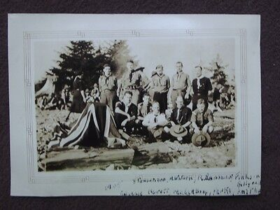 GROUP OF BOY SCOUTS & SCOUT LEADERS, WOMAN LEADER WALKING BEHIND Vtg 1935 PHOTO