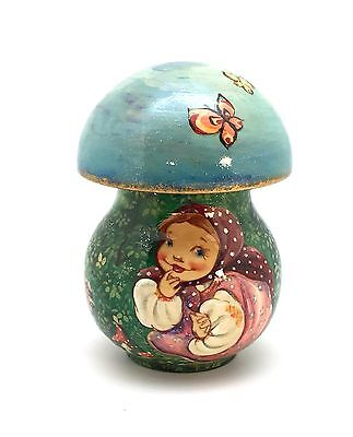 Unique Shape Russian Wooden Hand Carved Hand Painted Mushroom box not nesting