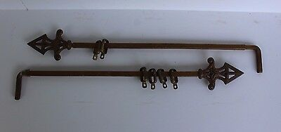 2 Antique 1930's Art DecoCast Iron Finial Swing Arm Metal Curtain Drapery Rods
