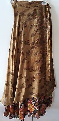 Silk Wrap and Tie Skirt Reversible Boho Hippie Dance Colorful Fun
