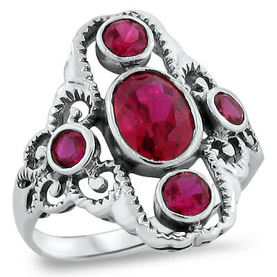 Antique Victorian Style Red Lab Ruby .925 Sterling Silver Ring Size 5,      #262