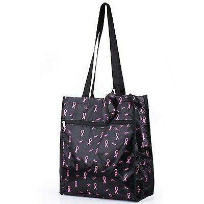 Zodaca Lightweight All Purpose Travel Tote Bag, Breast Cancer Pink Ribbon