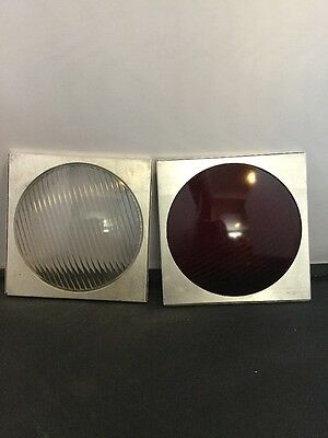 Lot Of 2 Vintage Glass 6 Inch Colored Lantern Lenses Red White