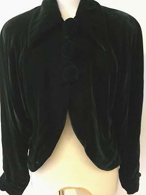 Vintage Platinum by Dorothy Schoelen Hunter Green Velvet Jacket Lined S M