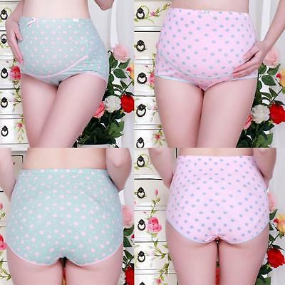 Pregnant Maternity Women Dots Prints Underwear Cotton Waist Breathable Panties