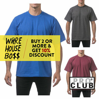Proclub Pro Club Mens Plain Short Sleeve T Shirt Heavyweight Casual Cotton Tee
