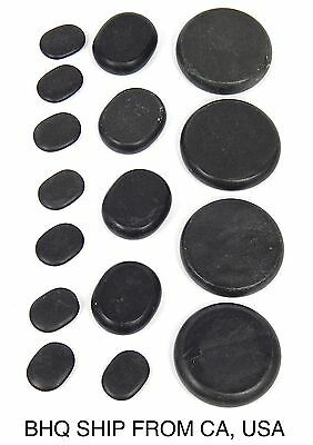 16Pcs Massage Stones Natural Lava Basalt Hot Stone for Spa, Massage Therapy