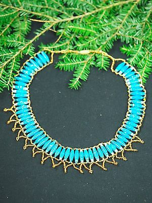 Vintage Ancient Egyptian choker necklace  - Turquoise - Isis - Ritual - Pagan