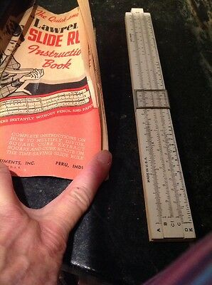 Lawrence Slide Rule With Instructions Vintage 1952