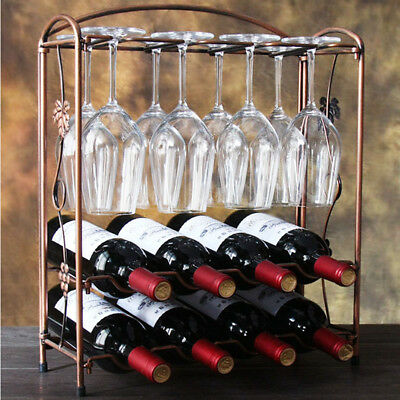1x Creative Wine Bottle Rack Glasses Goblet Storage Holders Home Bar Stand Shelf