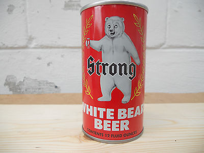Vintage Strong White Bear Beer Can Empty  Unopened  No Pull Tab   Walter Brewing