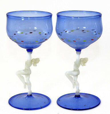 Pair, Deco wines with naked women stems, probably Bimini, 1930s [11216]