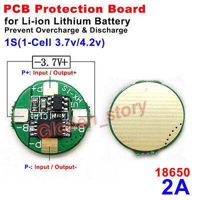 1S 2A 3.7V 4.2V Lithium Li-ion 18650 Battery Cell BMS Protection PCB Board Round