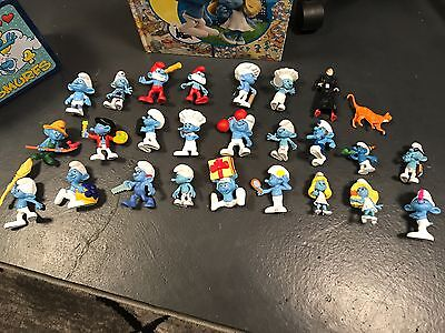 Smurf Figurines and Smurf Metal Lunch Box with Book
