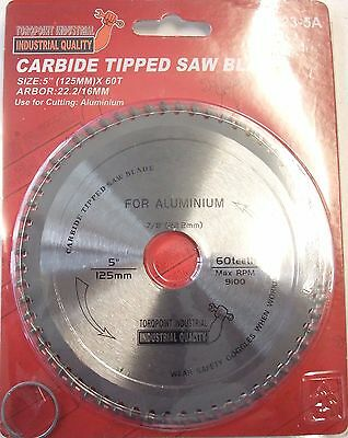 "5"" (125mm) x 60teeth -  ALUMINIUM  Cutting Saw Blade 22.2mm bore / 16mm washer"