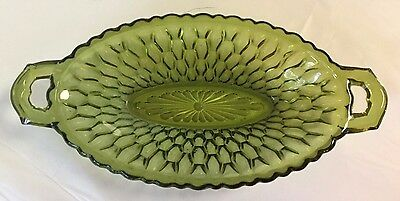 Indiana Glass Pickle Candy Dish Honeycomb Pattern Olive Green Oval 2 Handled Vtg