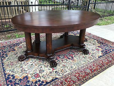 Massive Oval Carved Solid Mahogany Library Table RJ Horner