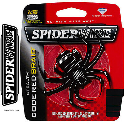 Spiderwire Stealth Code Red Braided Fishing Line - 300m PE Braid - RED