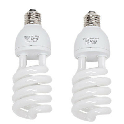 2 x 55W=275W Daylight Photo Energy Saving Bulb Lamp Lighting Light E27 5500K CFL