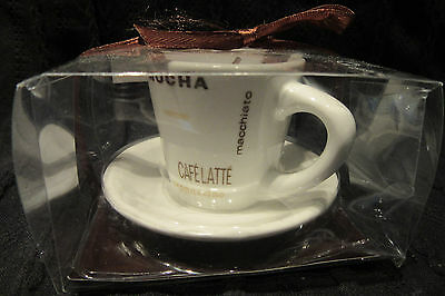 Small Coffee Mocha Café Latte Expresso Cup & Saucer With Candle Nib.