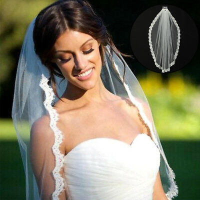 New 1T White Wedding Bridal Veil Satin Edge Comb Elbow Simple Cathedral